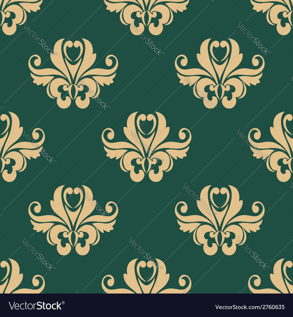 Floral seamless pattern with beige on dark green vector | Price: 1 Credit (USD $1)