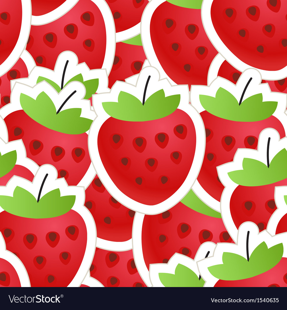 Fresh red strawberry seamless background vector | Price: 1 Credit (USD $1)