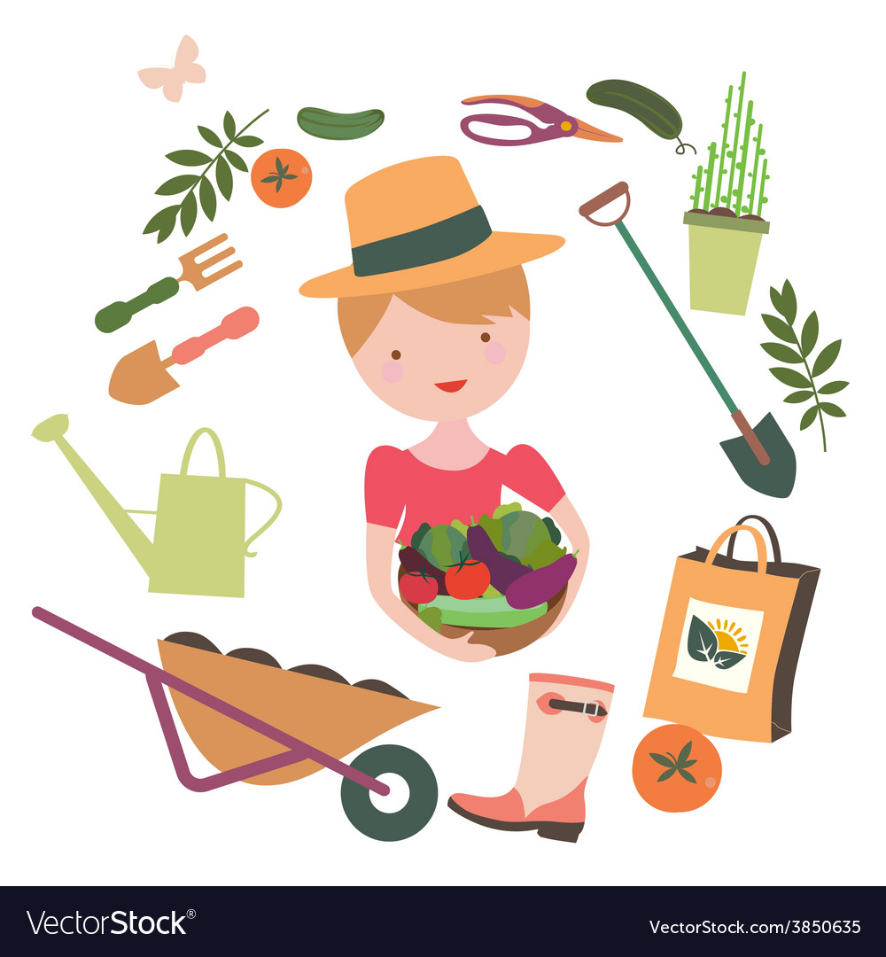 Girl with vegetables round composition vector | Price: 1 Credit (USD $1)