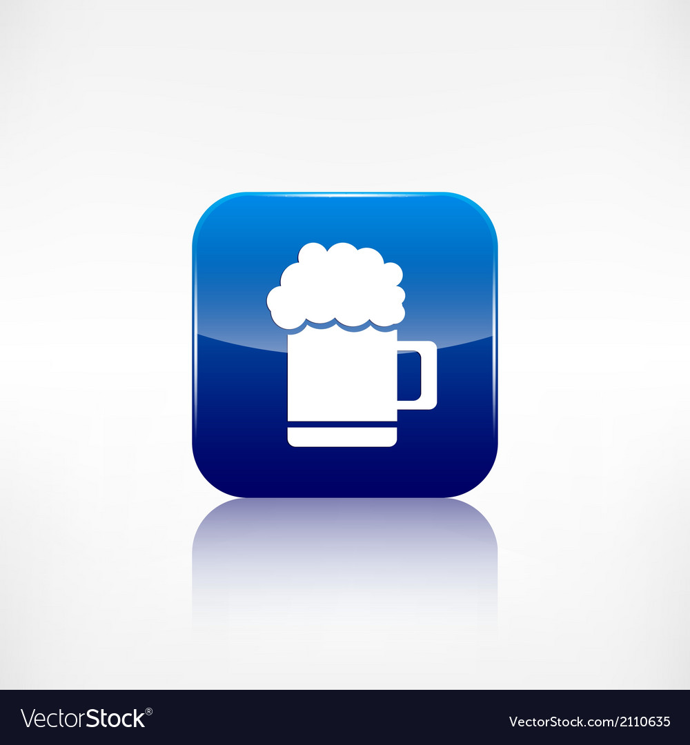 Glass of beer web icon application button vector | Price: 1 Credit (USD $1)