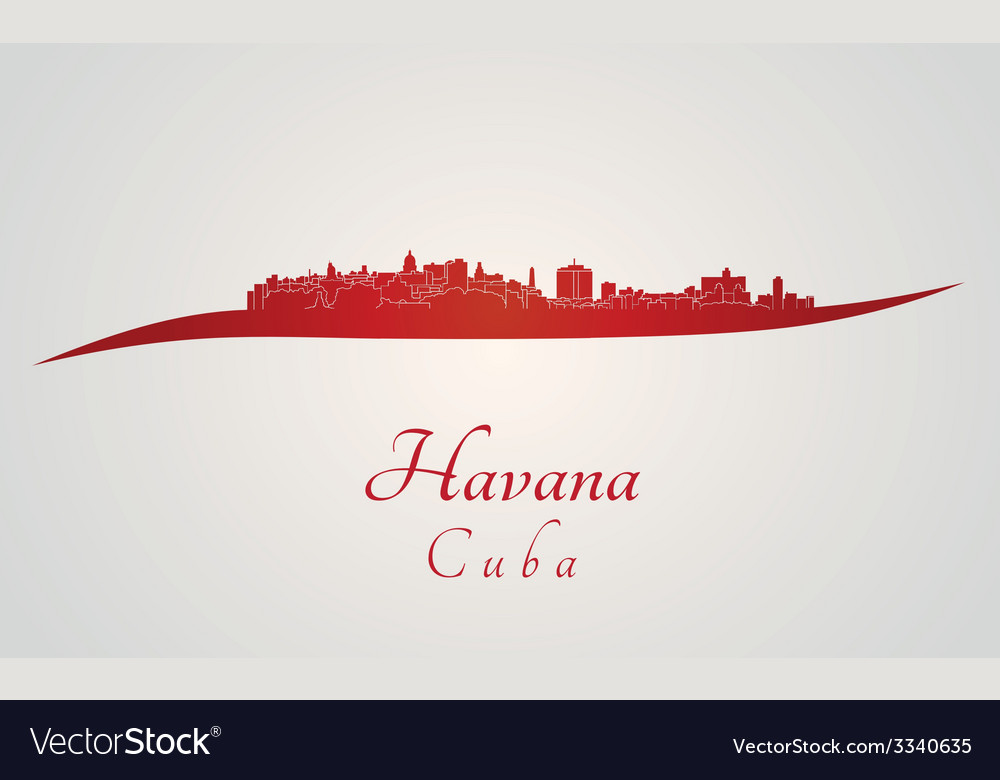 Havana skyline in red vector | Price: 1 Credit (USD $1)