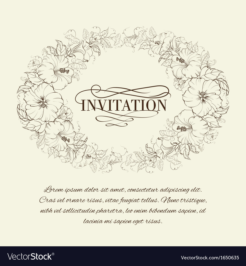 Invitation card with blooming hibiscus vector | Price: 1 Credit (USD $1)