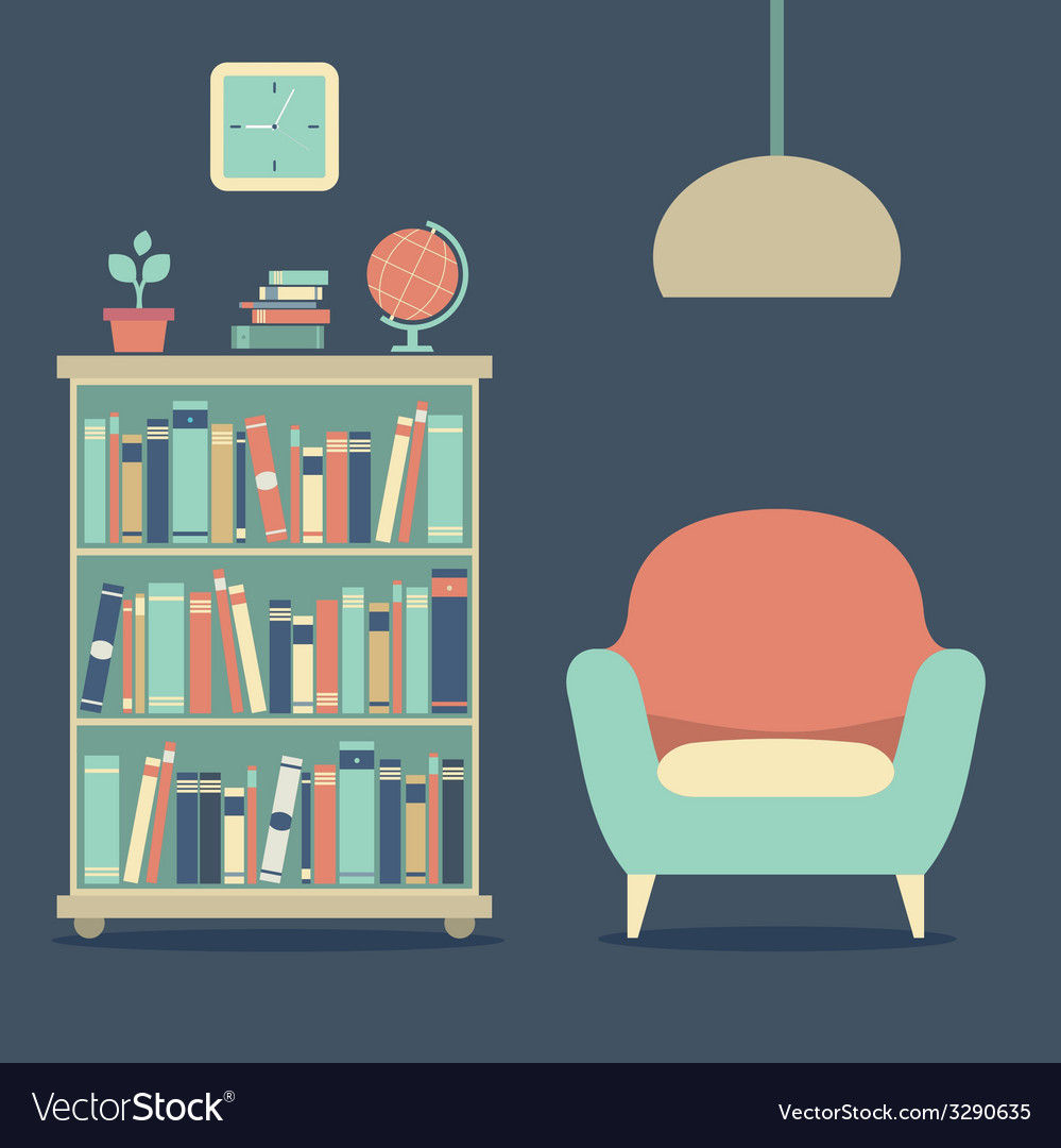 Modern design interior sofa and bookcase vector | Price: 1 Credit (USD $1)