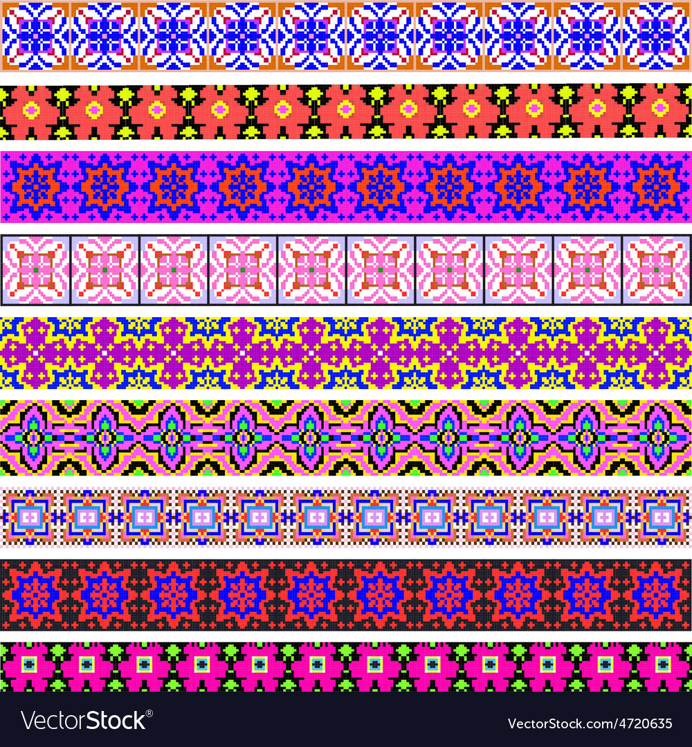 Set of ornamental strips of colored geometric vector   Price: 1 Credit (USD $1)