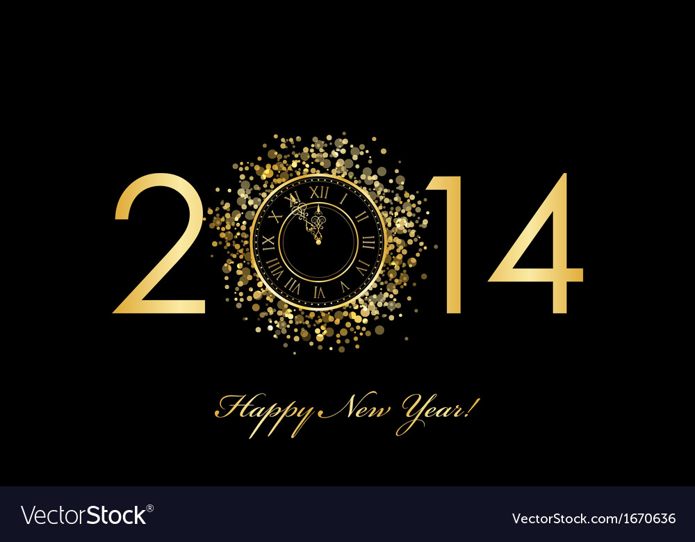 2014 new year clock vector | Price: 1 Credit (USD $1)