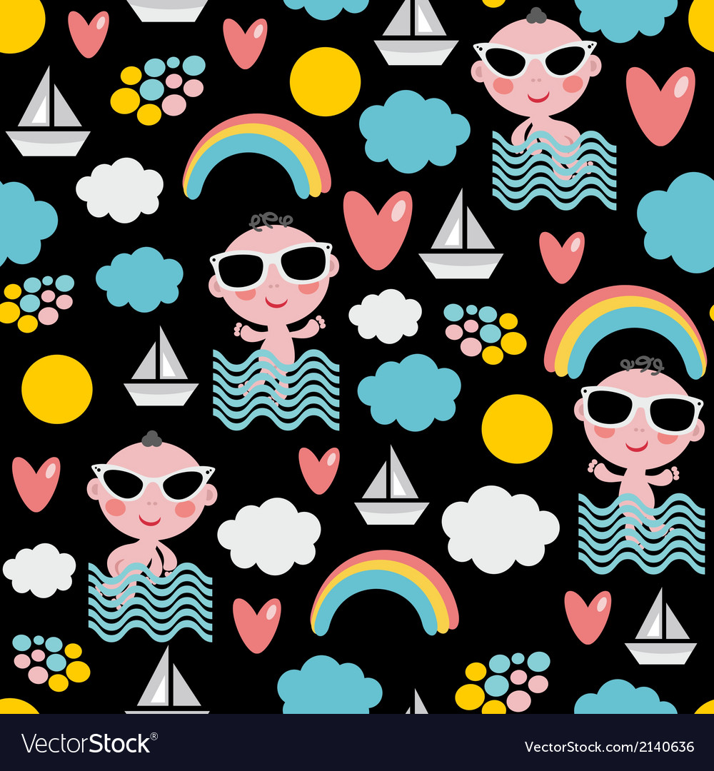 Baby boy on vacation seamless pattern vector | Price: 1 Credit (USD $1)