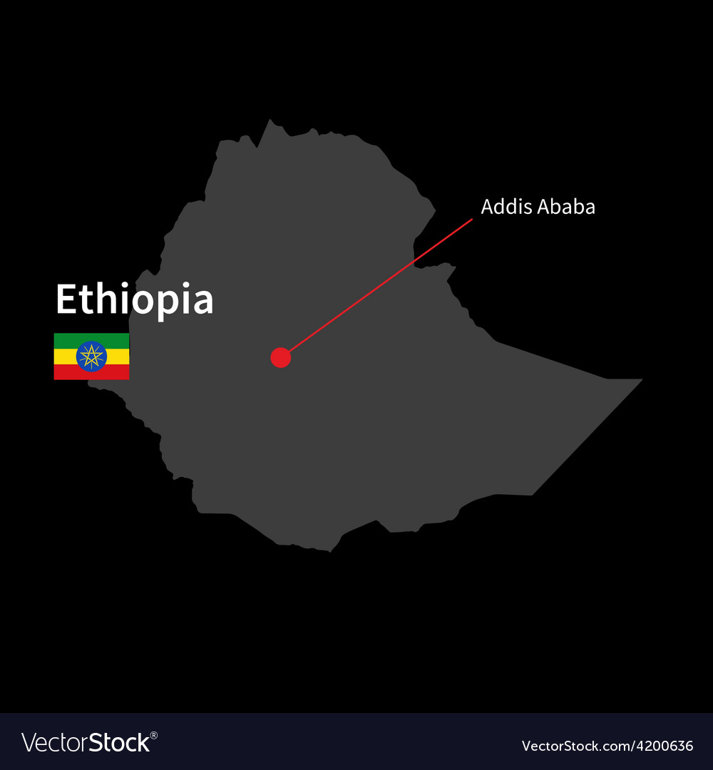 Detailed map of ethiopia and capital city addis vector | Price: 1 Credit (USD $1)
