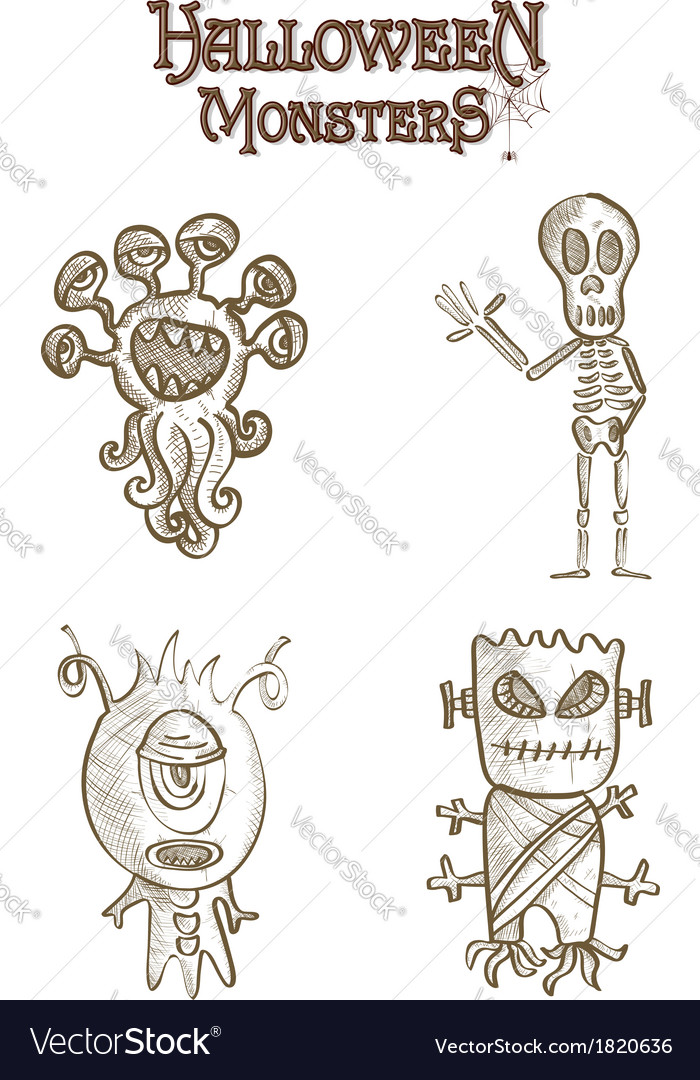 Halloween monsters scary sketch style cartoons set vector | Price: 1 Credit (USD $1)