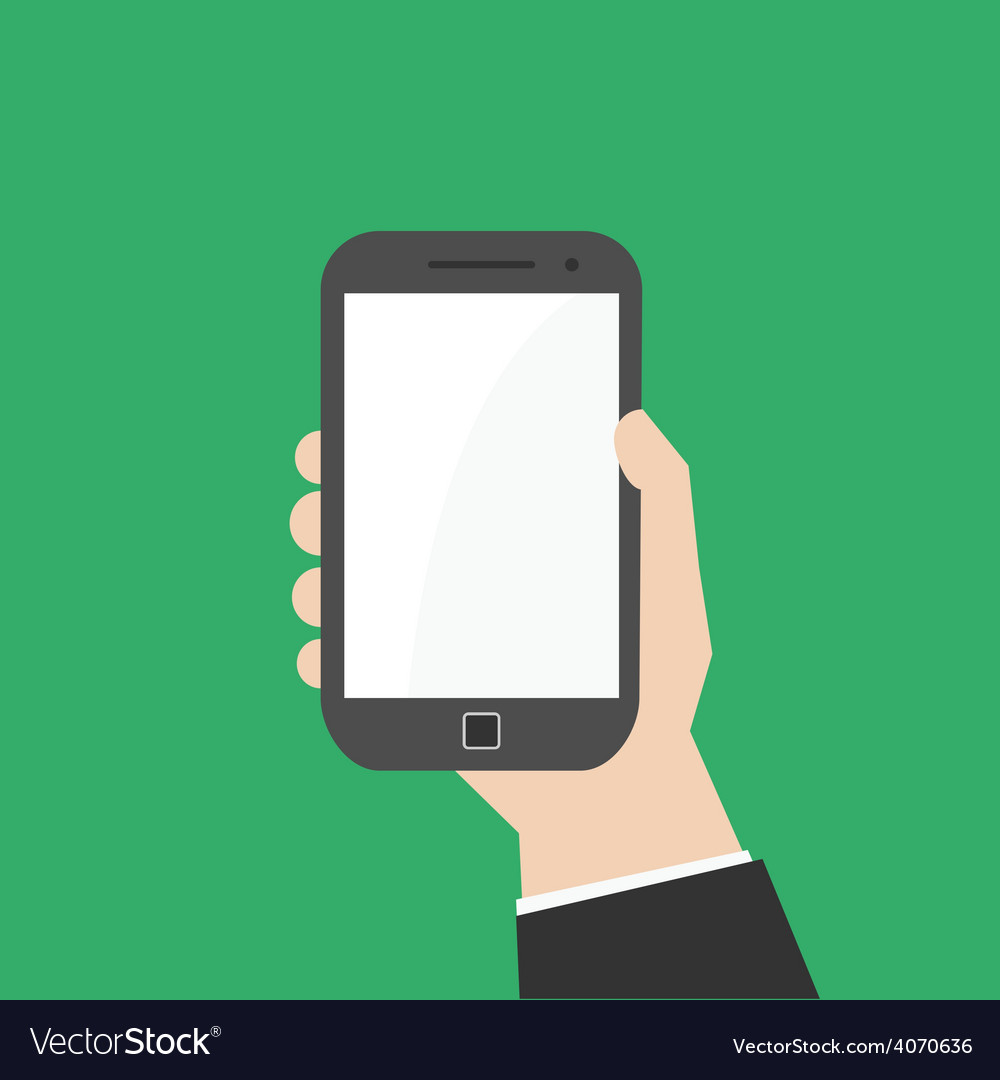 Hand with mobile smart phone vector | Price: 1 Credit (USD $1)