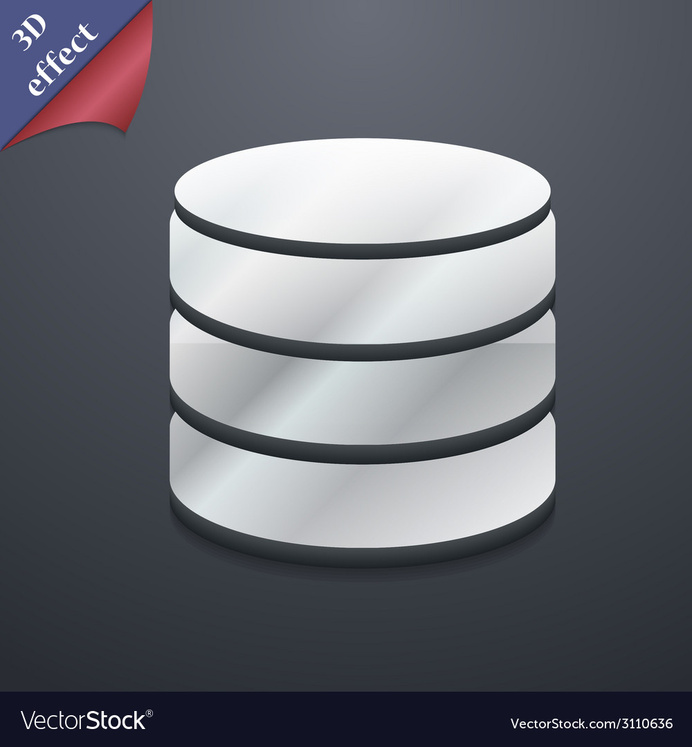 Hard disk and database icon symbol 3d style trendy vector | Price: 1 Credit (USD $1)
