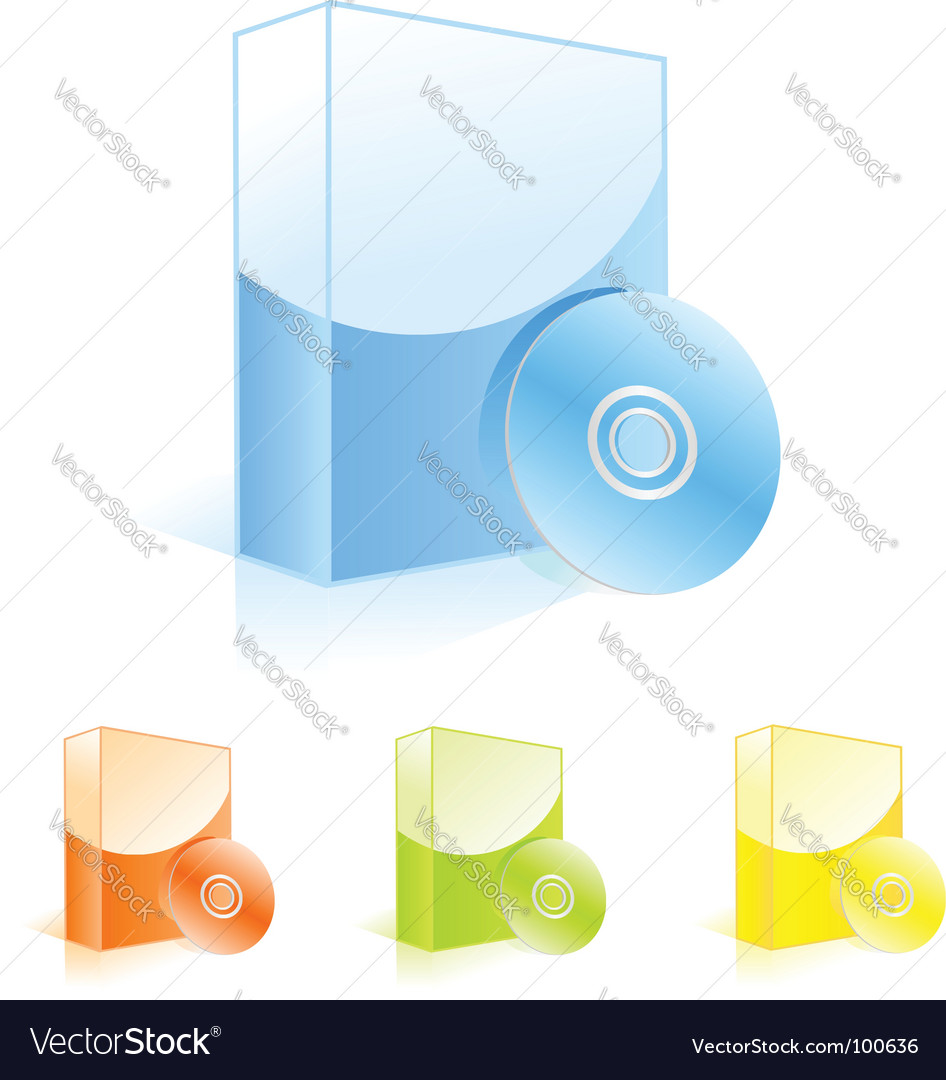 Multicolored software boxes with cd vector | Price: 1 Credit (USD $1)