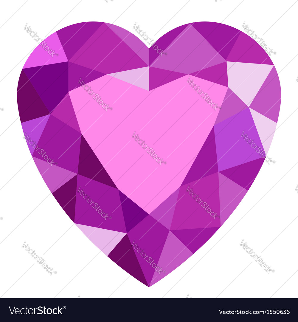 Pink gemstone heart vector | Price: 1 Credit (USD $1)