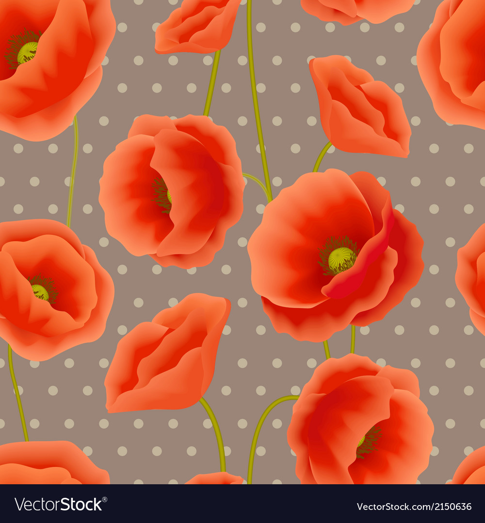 Poppy seamless wallpaper vector | Price: 1 Credit (USD $1)