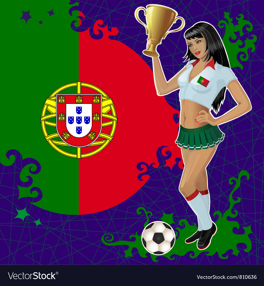 Portugal soccer poster with girl and flag vector | Price: 3 Credit (USD $3)