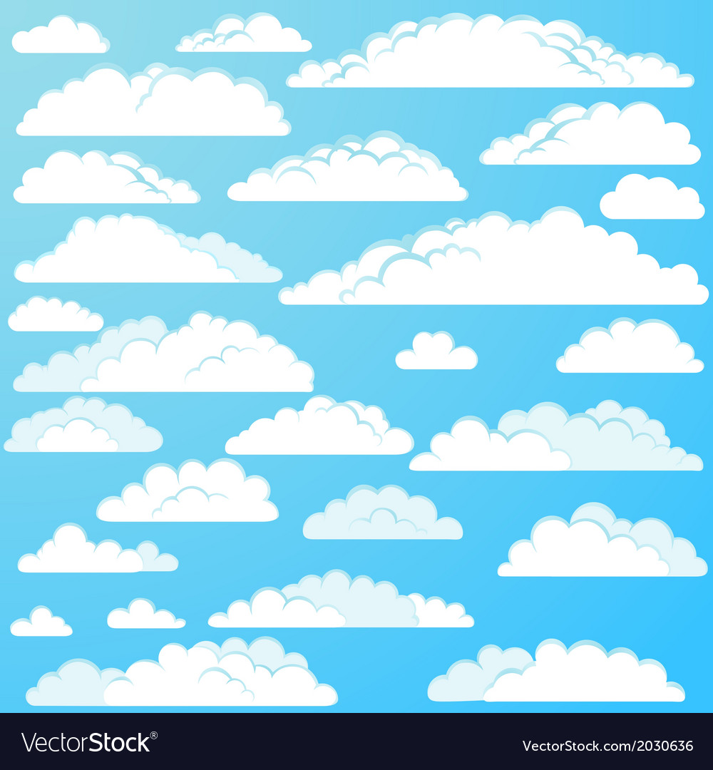 Set of cartoon clouds vector | Price: 1 Credit (USD $1)
