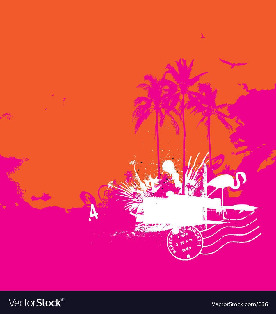 Tropical island vintage style vector | Price: 1 Credit (USD $1)