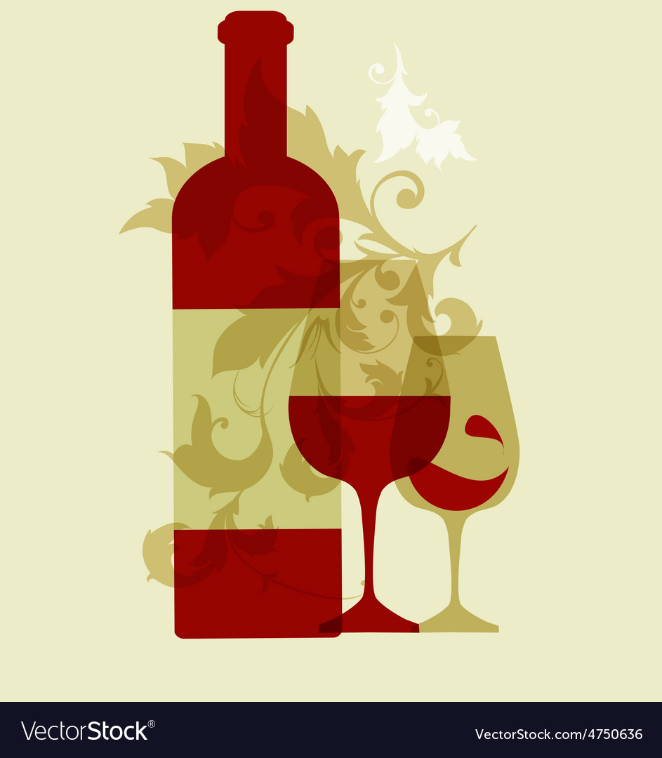Wine collection 2015 glasses and bottle vector | Price: 1 Credit (USD $1)