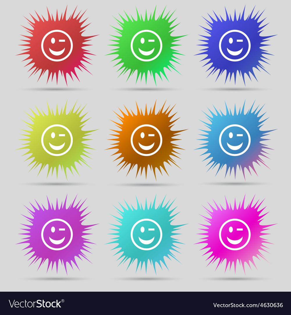 Winking face icon sign a set of nine original vector | Price: 1 Credit (USD $1)