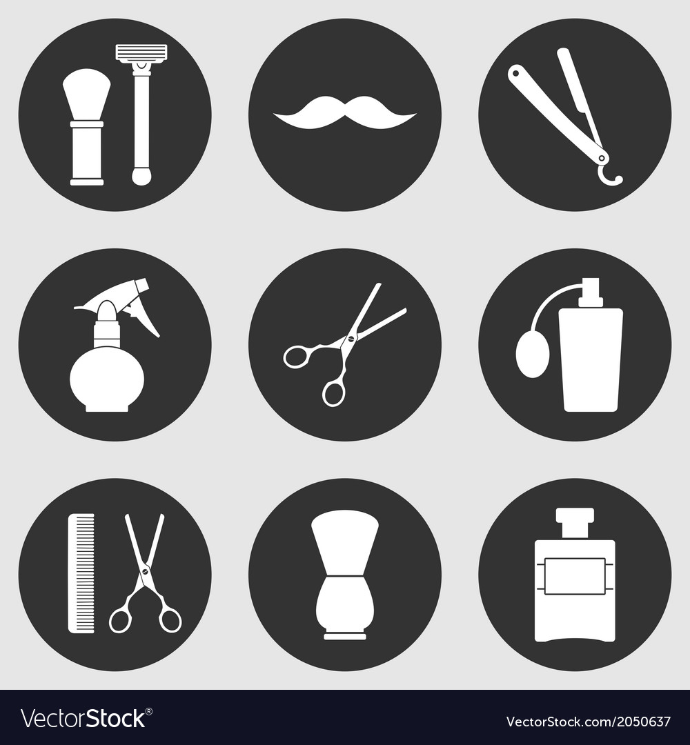 Barber shop monochrome icons set vector | Price: 1 Credit (USD $1)