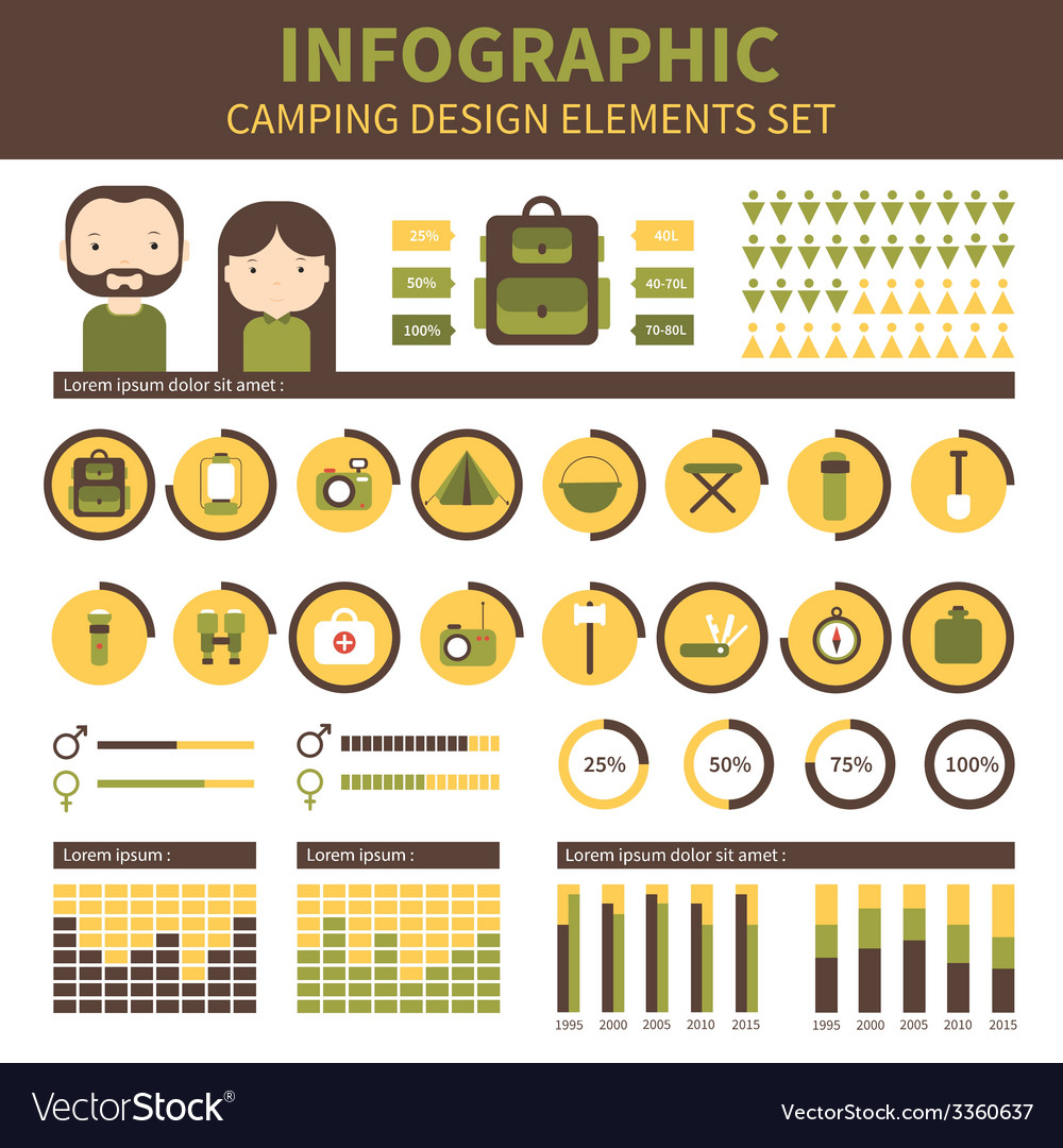 Camping outdoor activity and hiking infographic vector | Price: 1 Credit (USD $1)