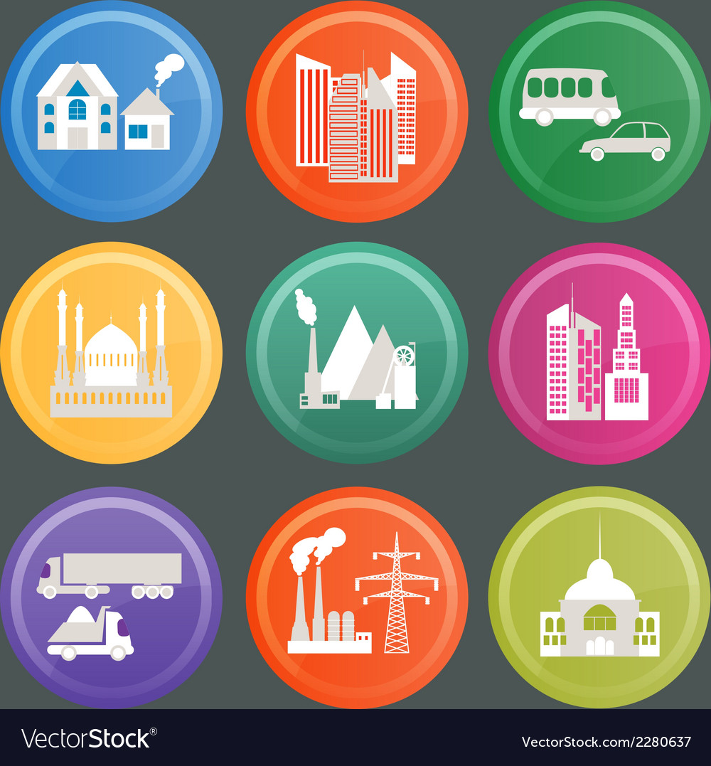 City infrastructure icons 10 vector | Price: 1 Credit (USD $1)