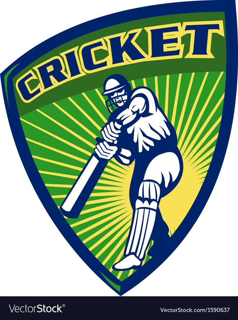 Cricket sports batsman batting shield vector | Price: 1 Credit (USD $1)