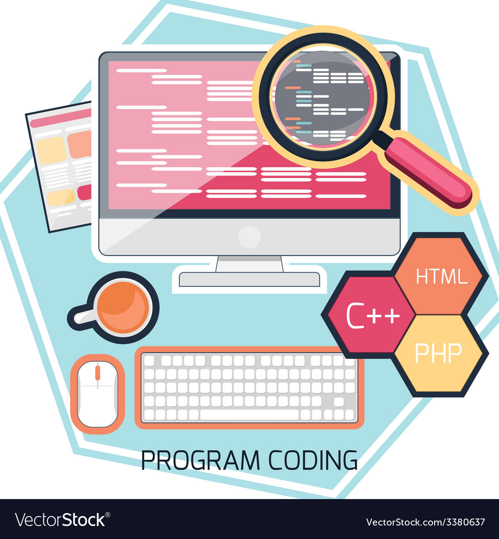 Flat design concept of program coding vector | Price: 1 Credit (USD $1)