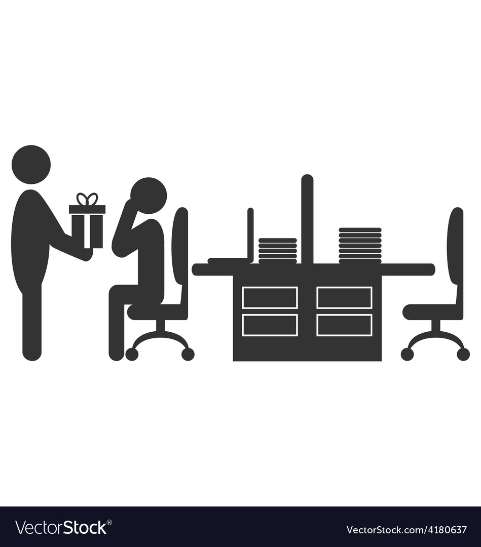 Flat office icon with giving gift worker isolated vector | Price: 1 Credit (USD $1)