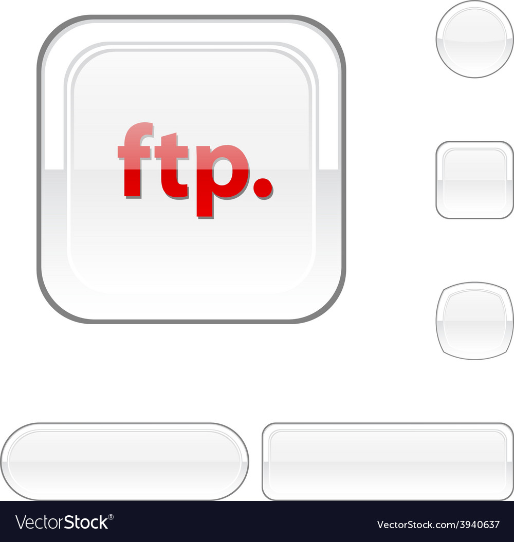 Ftp white button vector | Price: 1 Credit (USD $1)