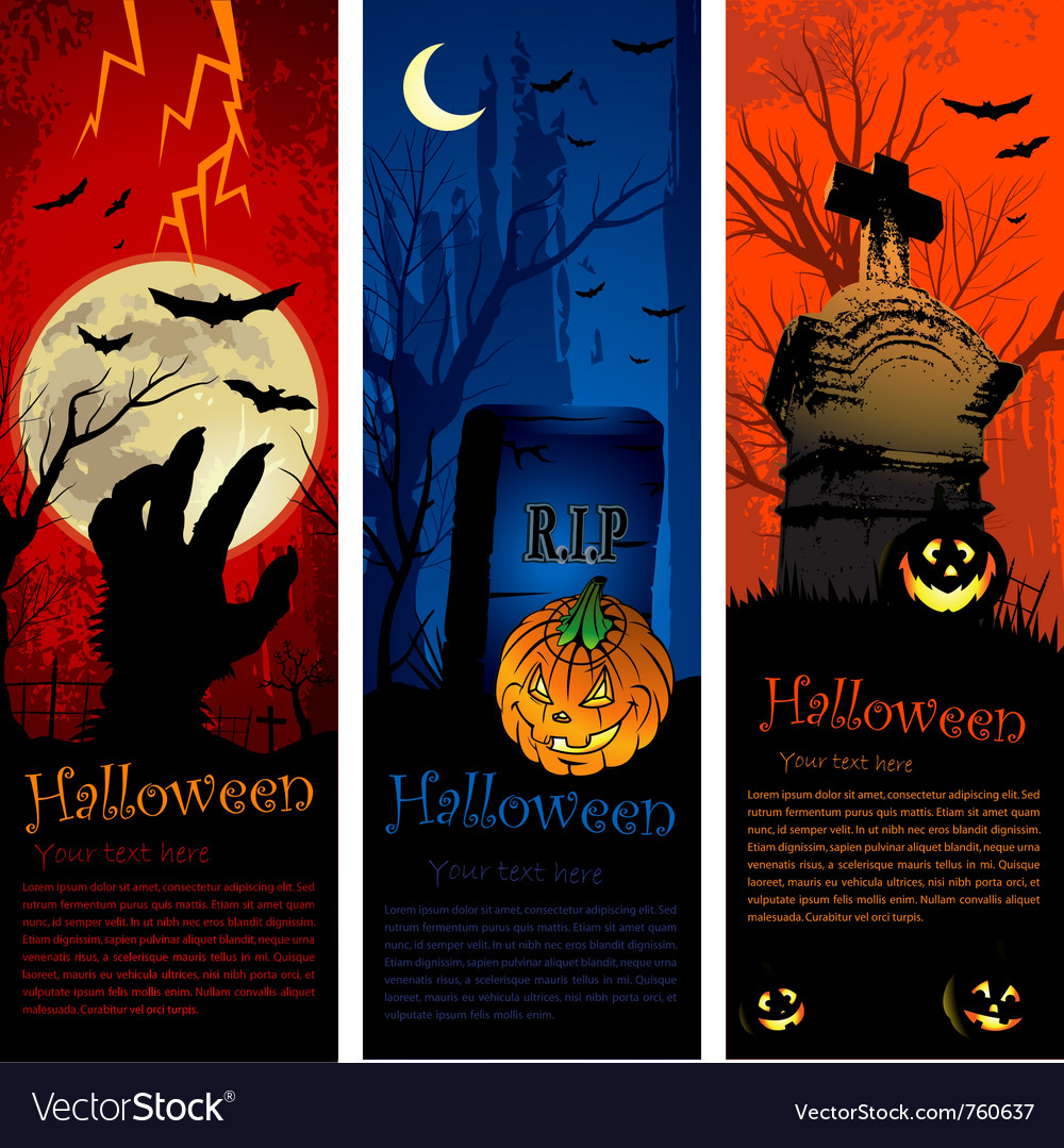 Halloween party invitation banners vector | Price: 3 Credit (USD $3)