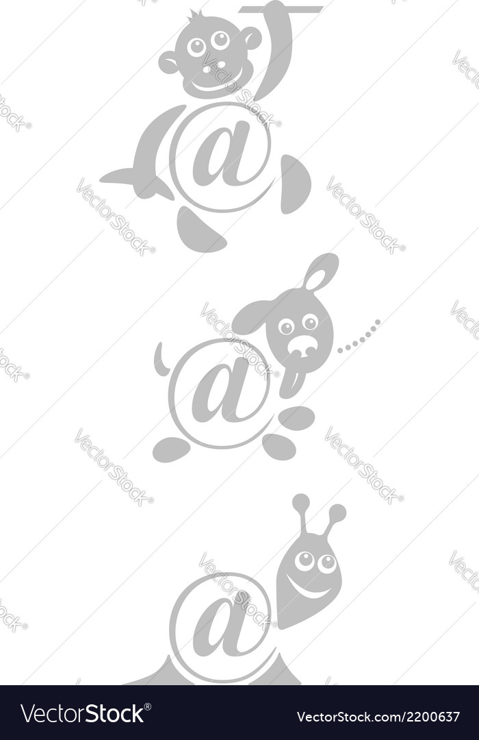 International sign email animals stamp vector | Price: 1 Credit (USD $1)