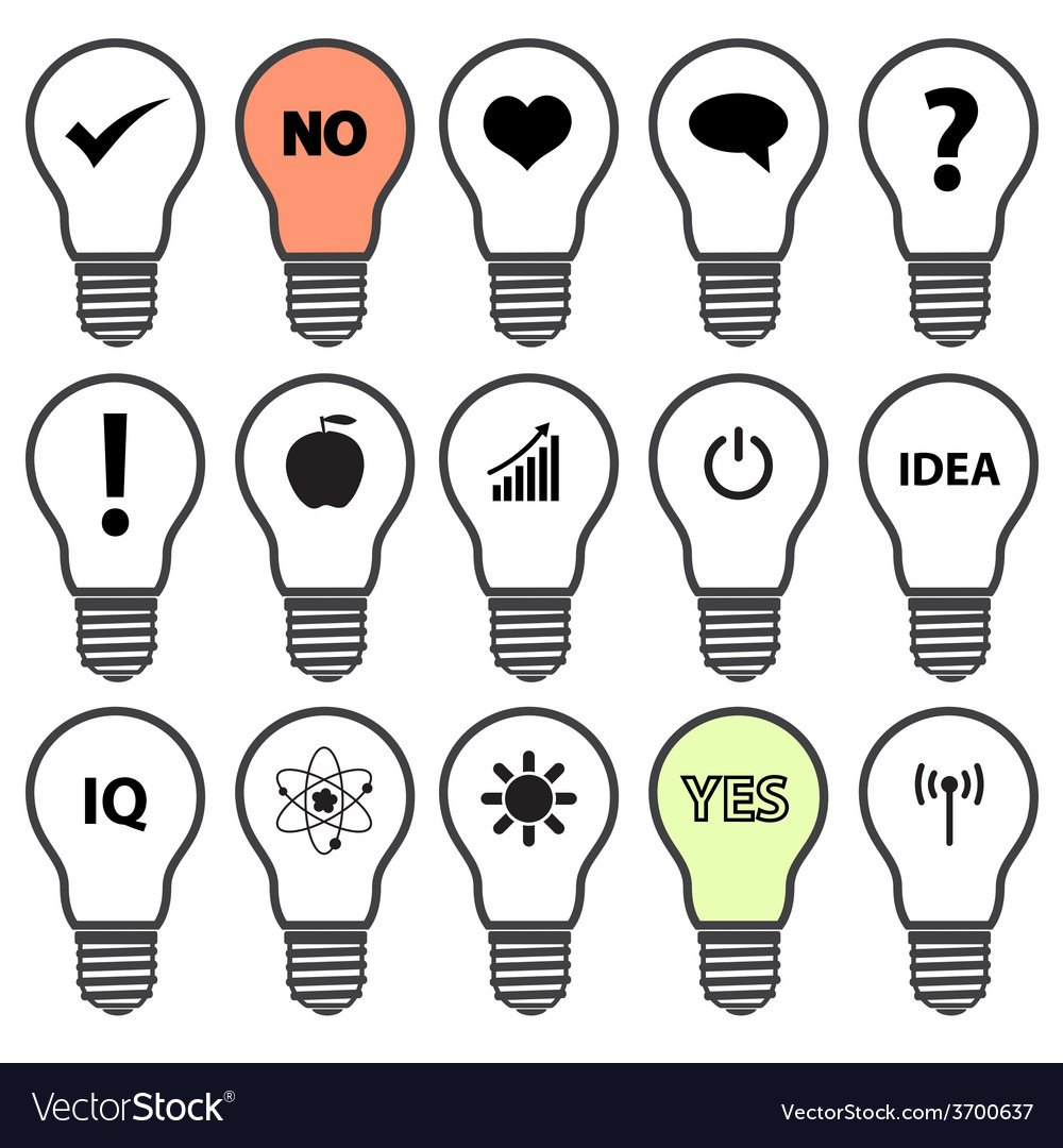 Light bulb symbols with various idea icons eps10 vector | Price: 1 Credit (USD $1)