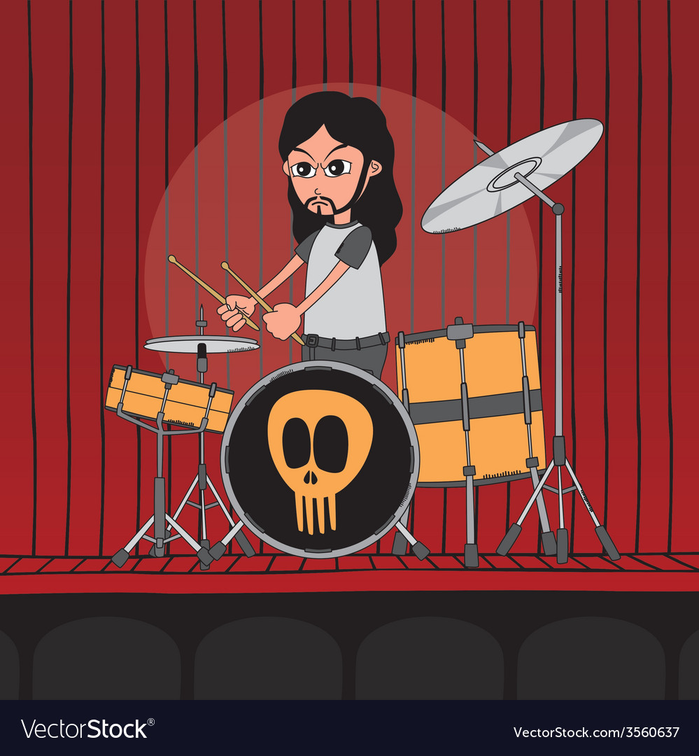 Live band boy cartoon character vector | Price: 1 Credit (USD $1)