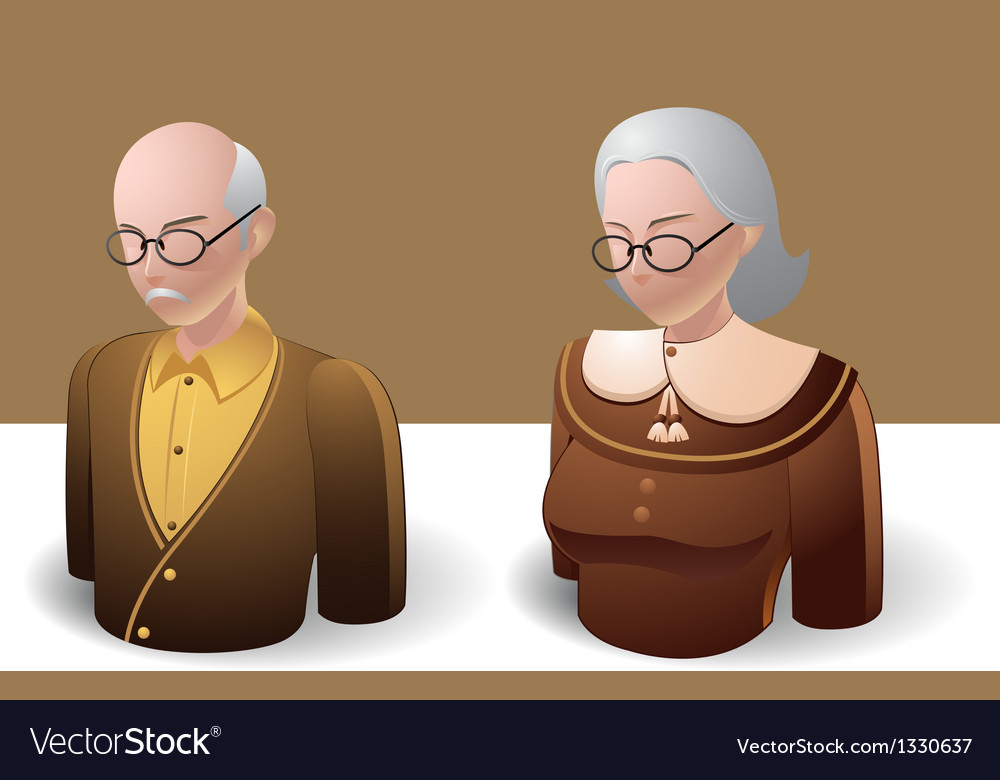 People icons old man and old women vector | Price: 3 Credit (USD $3)