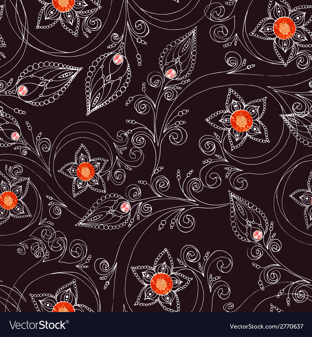 Seamless pattern with flowers doodles and rubies vector | Price: 1 Credit (USD $1)