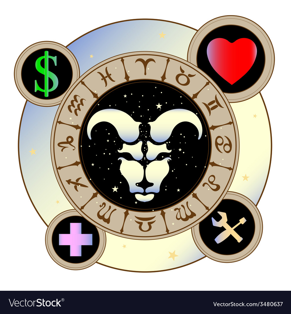 Signs of the zodiac icons medicine work heart vector | Price: 1 Credit (USD $1)