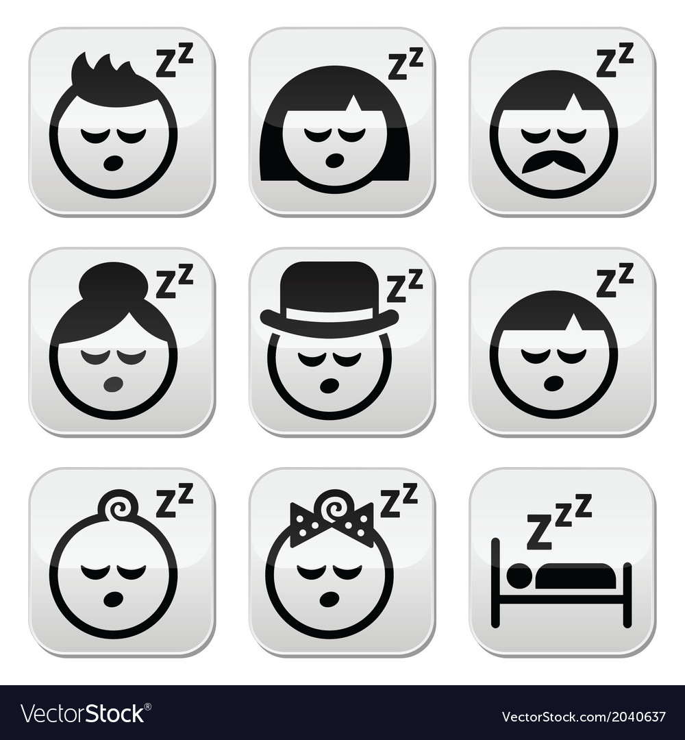Sleeping dreaming people faces buttons set vector | Price: 1 Credit (USD $1)