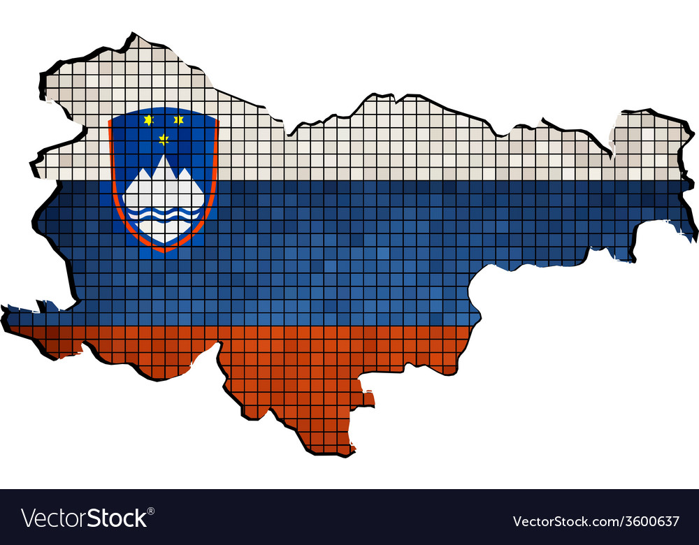 Slovenia map with flag inside vector | Price: 1 Credit (USD $1)