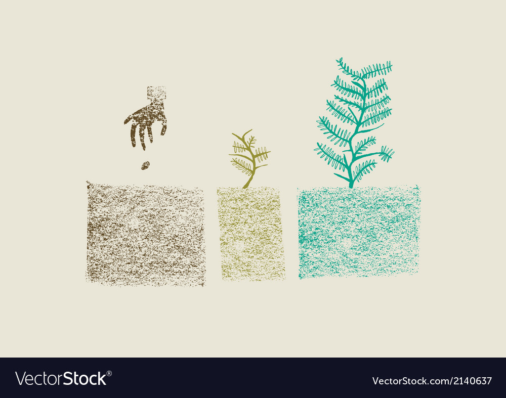 Tree growing process vector | Price: 1 Credit (USD $1)