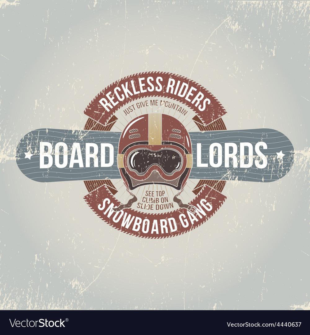 Vintage snowboard emblems vector | Price: 1 Credit (USD $1)