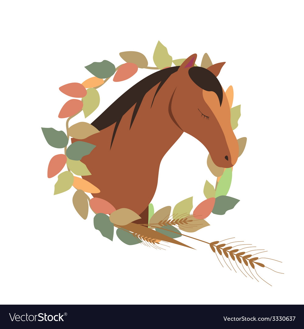 Wreath with horse vector | Price: 1 Credit (USD $1)