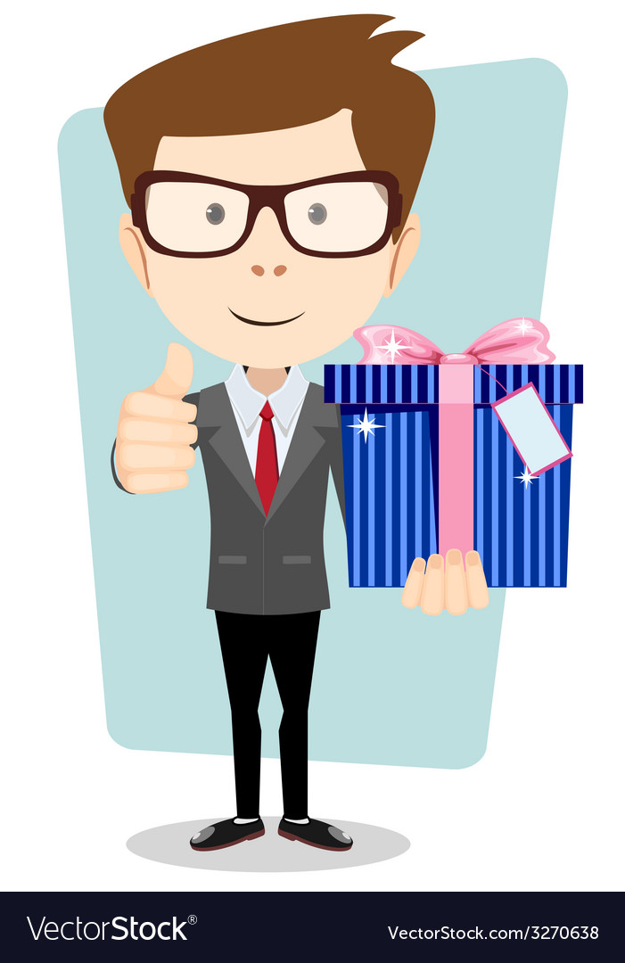 Businessman with colorful gift boxes giving the vector | Price: 1 Credit (USD $1)