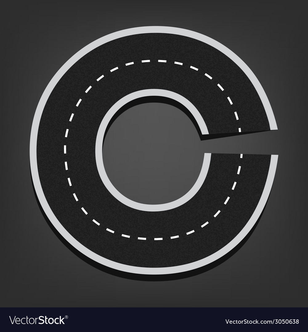 C letter road font vector | Price: 1 Credit (USD $1)