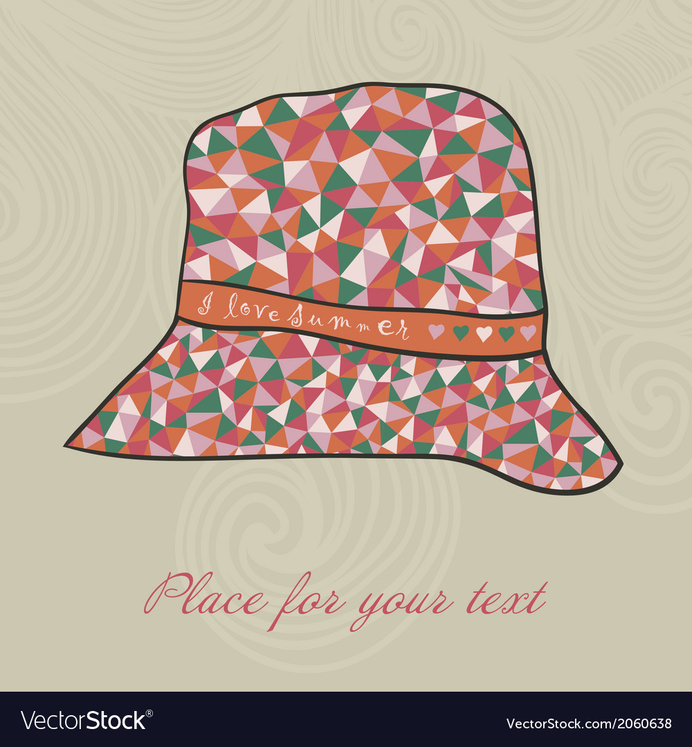 Fashion hat made of triangles fabric i love summer vector | Price: 1 Credit (USD $1)