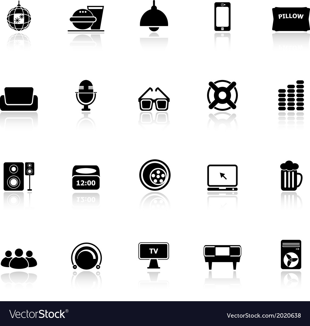 Home theater icons with reflect on white vector | Price: 1 Credit (USD $1)