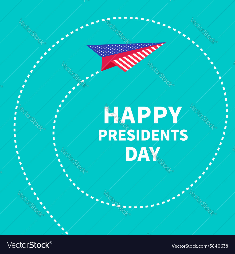 Presidents day background paper plane dash line vector | Price: 1 Credit (USD $1)