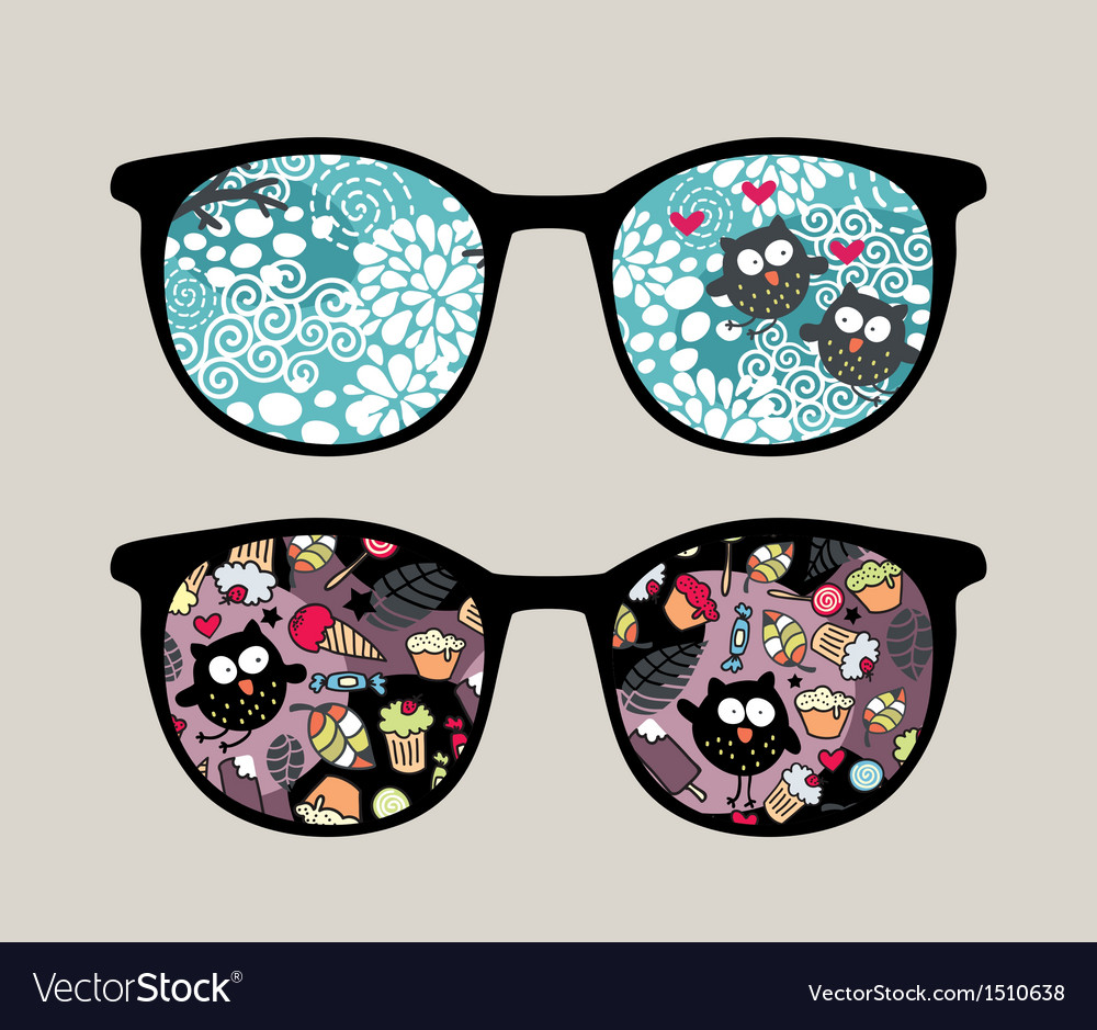 Retro sunglasses with crazy owls reflection vector | Price: 1 Credit (USD $1)