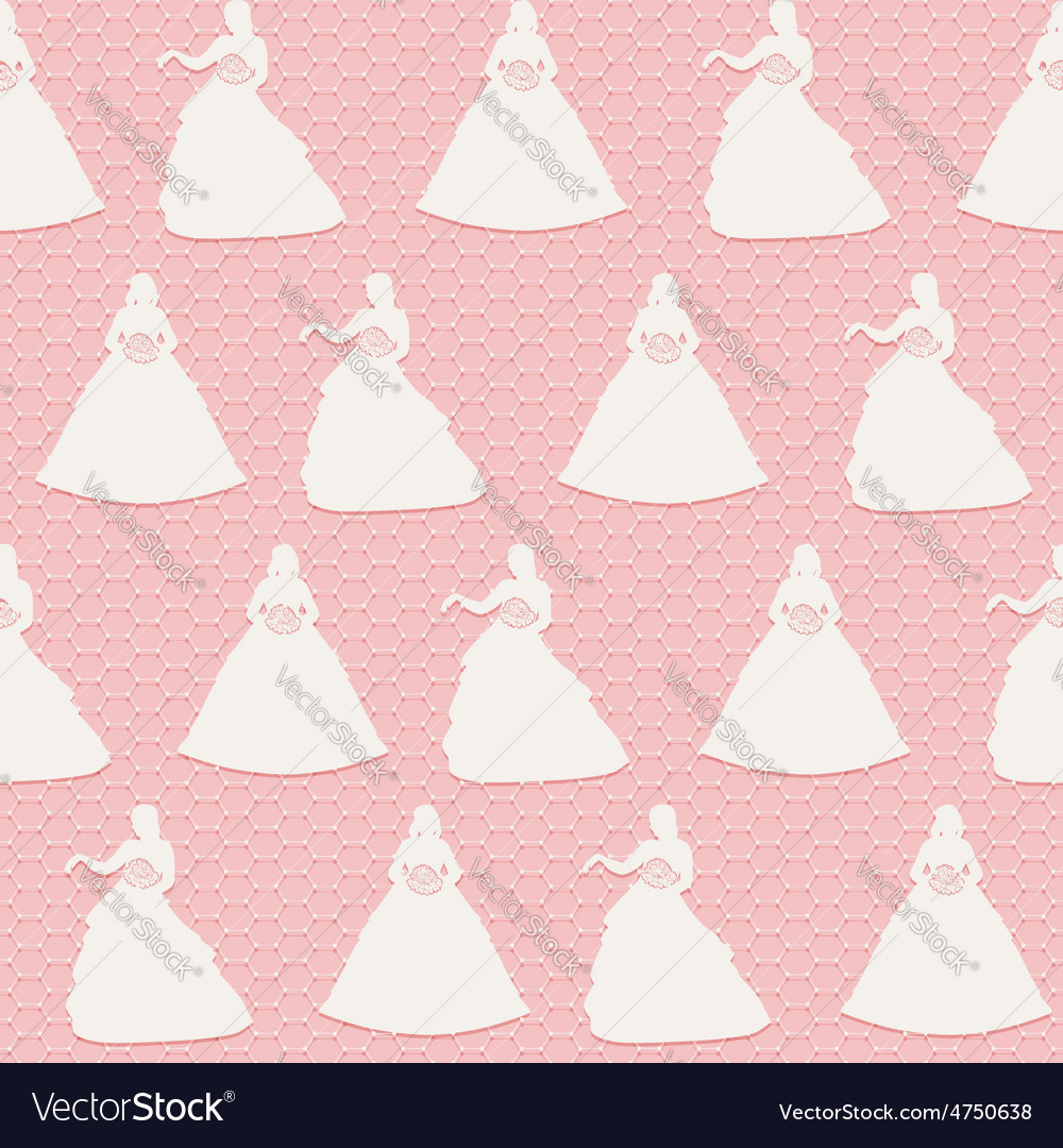 Seamless lace wedding background white silhouette vector | Price: 1 Credit (USD $1)