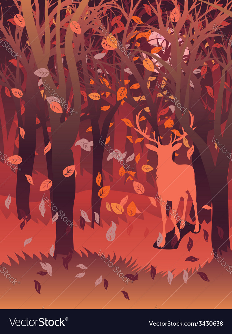 Stag in autumn forest2 vector | Price: 1 Credit (USD $1)