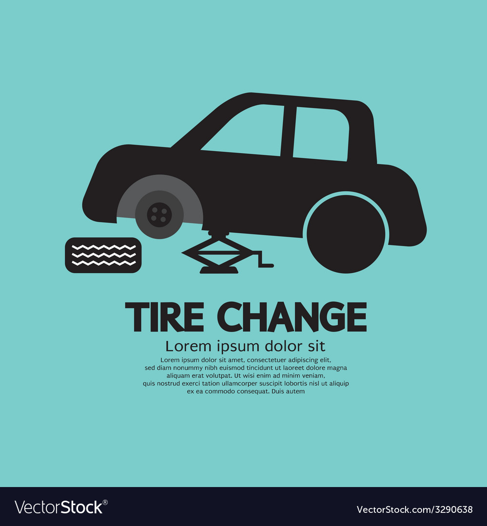 Tire changing graphic vector | Price: 1 Credit (USD $1)